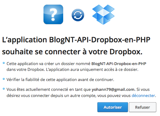Authentification Dropbox en PHP