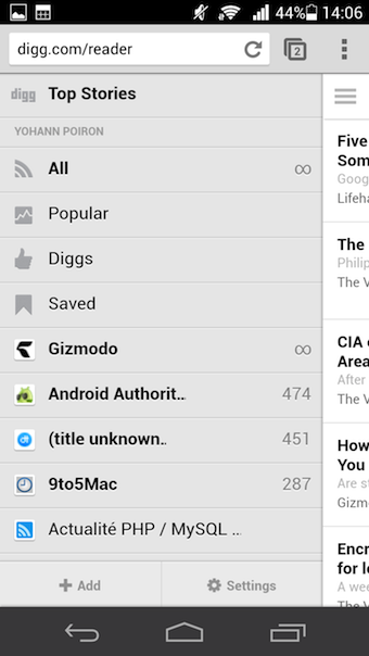 Menu de Digg Reader sur la version Web mobile