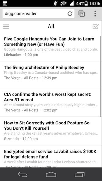 Liste des articles de Digg Reader sur la version Web mobile