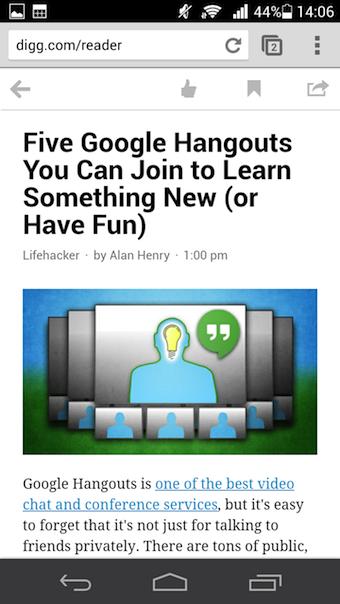 Vue d'un article de Digg Reader sur la version Web mobile
