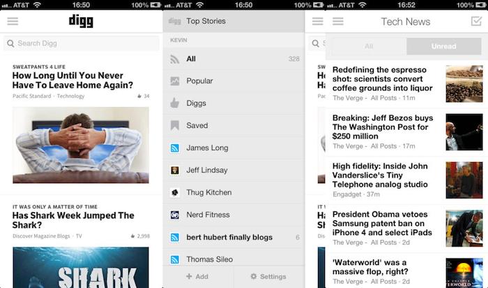 Digg Reader sur iOS dispose de sa propre application