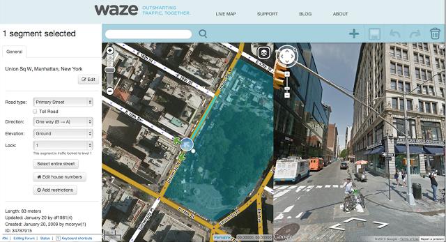 Waze Map Editor dispose de la vue Street View et l'imagerie par satellite pour améliorer la géolocalisation