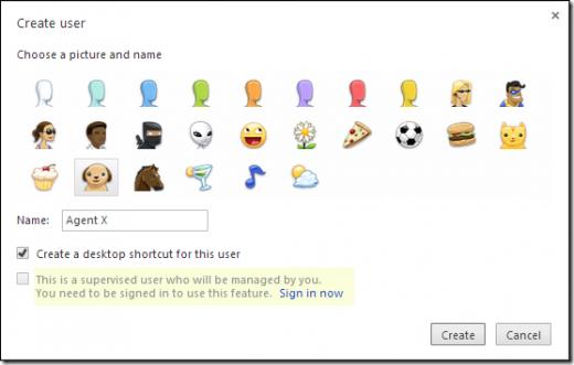 Création d'un utilisateur sur Chrome