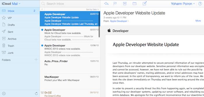 iCloud Mail, une refonte drastique plus clair, et plus lisible