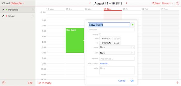 iCloud Calendar offre une vue plus adaptée à la gestion des évènements
