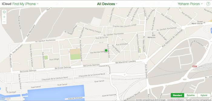 Find My iPhone fonctionne parfaitement pour localiser également votre Mac sur iCloud