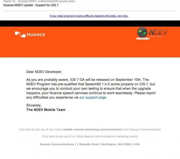 Nuance aurait reçu un mail pour le lancement de iOS 7 le 10 septembre prochain