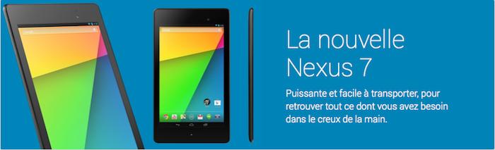 La nouvelle Nexus 7 (2013) arrive en vente sur le Google Play français