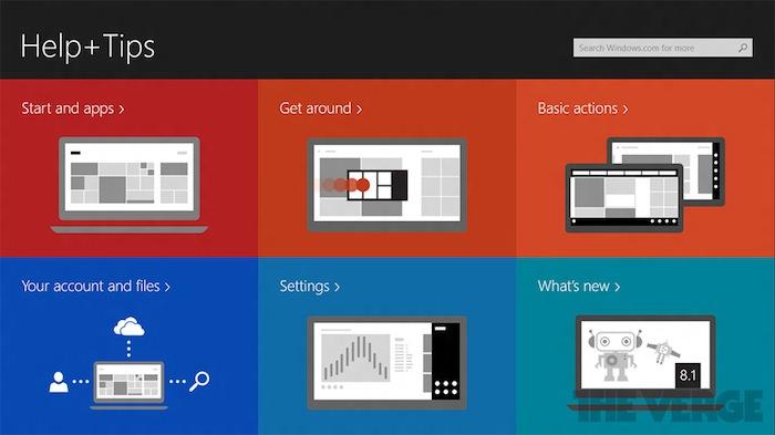 Affichage de l'aide sur Windows 8.1 par catégories