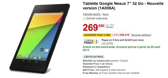 Les pré-commandes de la Nexus 7 (2013) sont ouvertes en France, livraison le 28 août