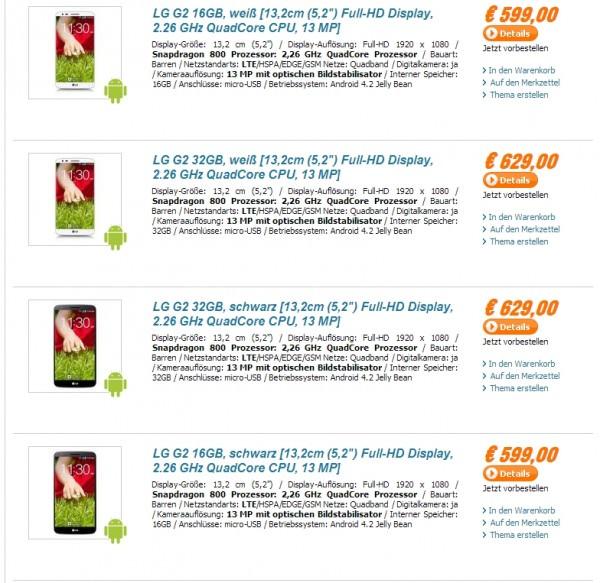 Listing des prix du LG G2