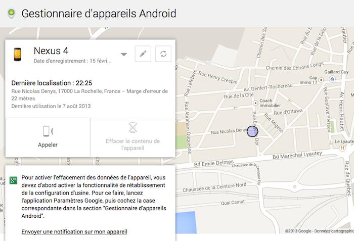 Localisation des dispositifs sur une carte