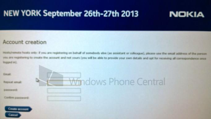 Une capture d'écran révèle la page d'inscription de l'événement Nokia