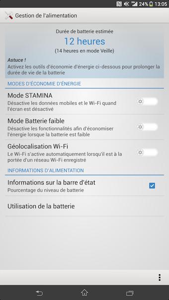 Le mode STAMINA sur le Xperia Z Ultra vous fera économiser un max d'autonomie