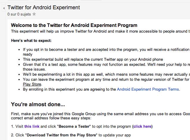 Le Google Group permet de s'inscrire au programme bêta testeur de Twitter sur Android