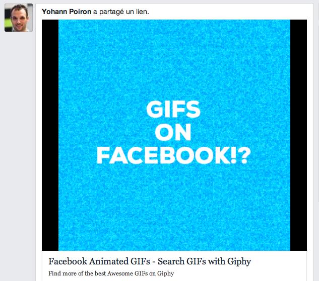 Intégration d'un GIF sur Facebook