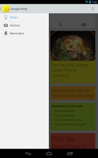 Google Keep arrive avec le menu contextuel commun aux applications mobile Google