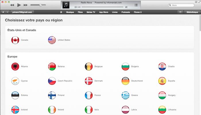 Il va être nécessaire de changer la langue du iTunes Store