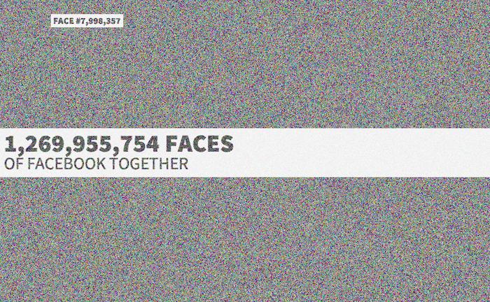 Faces of Facebook est un mashup interactif des 1.26 milliard de profils