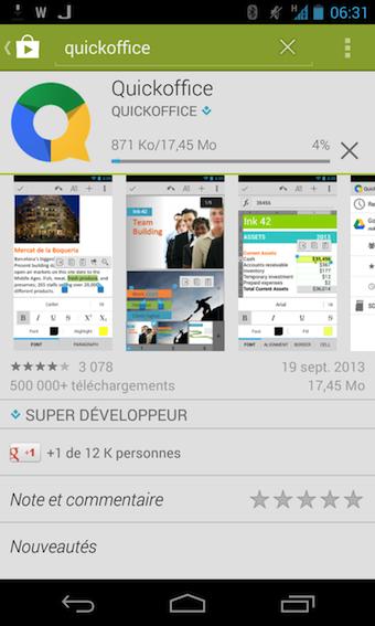 Installation de Quickoffice gratuitement en provenance du Google Play Store