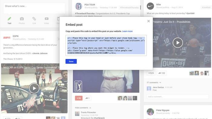 Google+ lance les messages embarqués, et la paternité dans les résultats de recherche