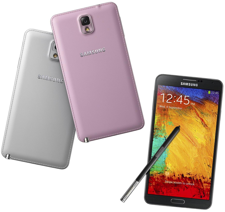 Le Galaxy Note 3 dispose d'un coque arrière en cuir cousu (disponible en noir, blanc et rose)