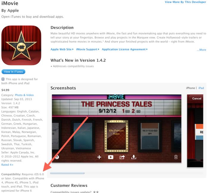 L'application iMovie adapté à l'iPhone 6 ?