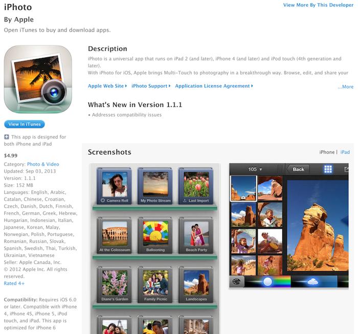 L'application iPhoto adapté à l'iPhone 6 ?