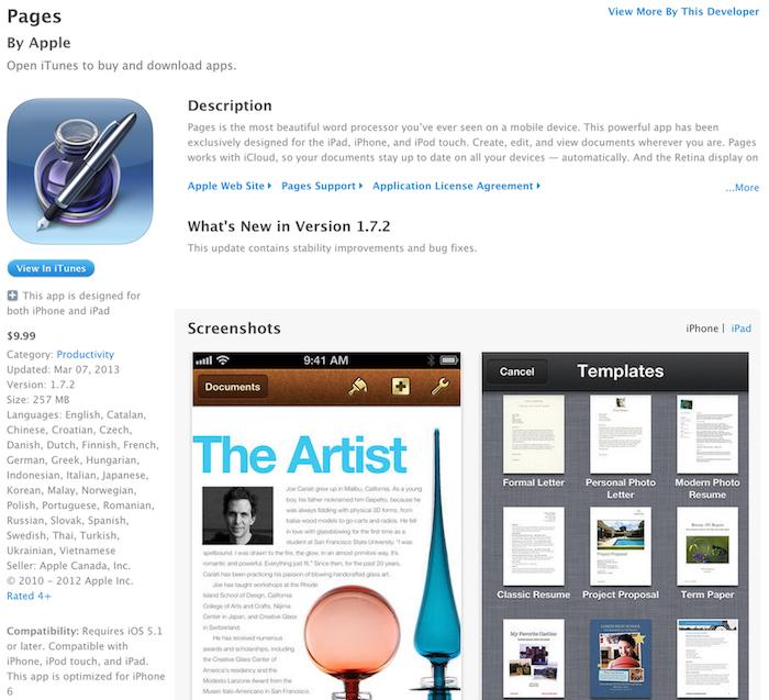 L'application Pages adapté à l'iPhone 6 ?