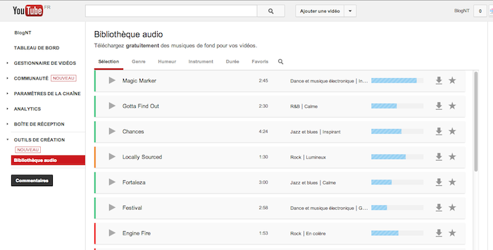 La nouvelle galerie audio de YouTube proposer 150 titres libres de droits à utiliser n'importe où
