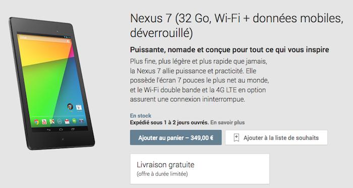 La nouvelle Nexus 7 de 32 Go avec le support de la 4G LTE arrive en France