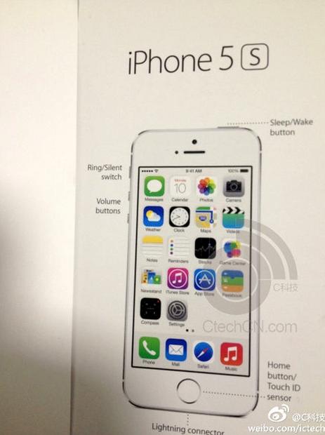 Le manuel de l'iPhone 5S montre le capteur Touch ID