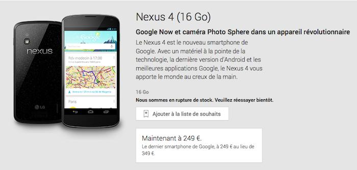 Le Nexus 4 de 16 Go en rupture de stock aux États-Unis, le Nexus 5 arrive bientôt !
