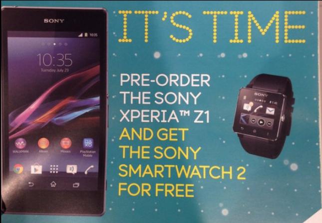 Le Sony Xperia Z1 (Honami) pourrait arriver avec la SmartWatch 2 gratuitement dans certains pays