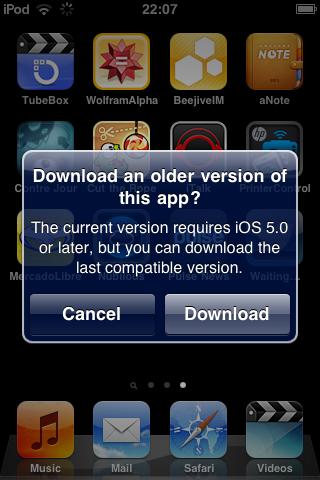 Télécharger l'ancienne version compatible d'une application pour votre ancien iDevice