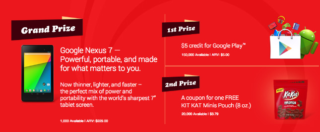 Un concours pour KitKat offre une Nexus 7 (2013) et des coupons pour le Google Play