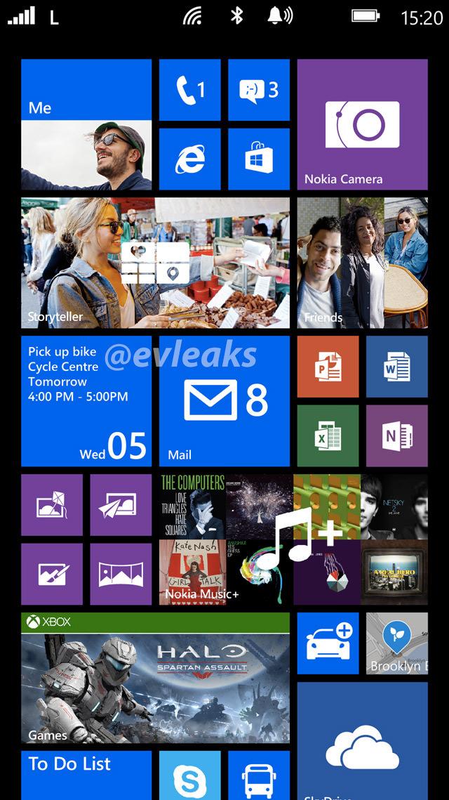 Une capture d'écran de l'interface de Windows Phone 8 en 1080p en fuite