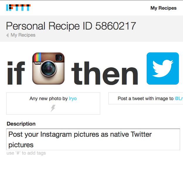 Une fois la recette IFTTT configurée, toutes vos photos Instagram seront clairement visible sur Twitter