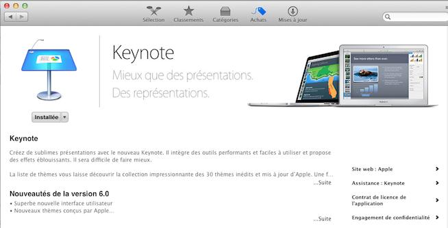 L'App Store vous demandera de mettre à jour gratuitement iWork'09