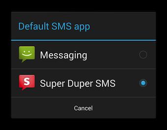 Choix de l'application SMS par défaut