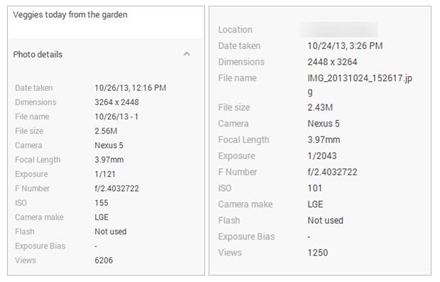 Données EXIF des clichés pris depuis le Nexus 5