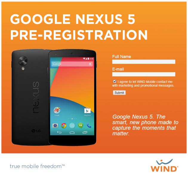 Page de pré-inscription pour le Nexus 5 de LG sur WIND Mobile