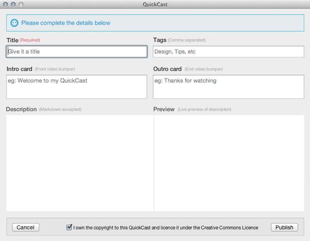 Quickcast.io : une application Mac qui vous permet de créer de courts screencasts et GIF animés