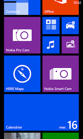 Interface de Lumia 1020