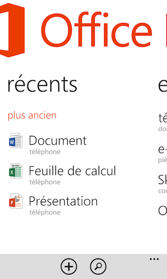 Office sur Windows Phone