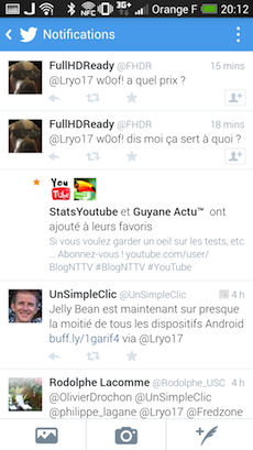 Vue des notifications