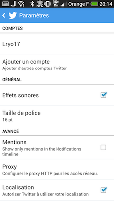 Paramètres de l'application