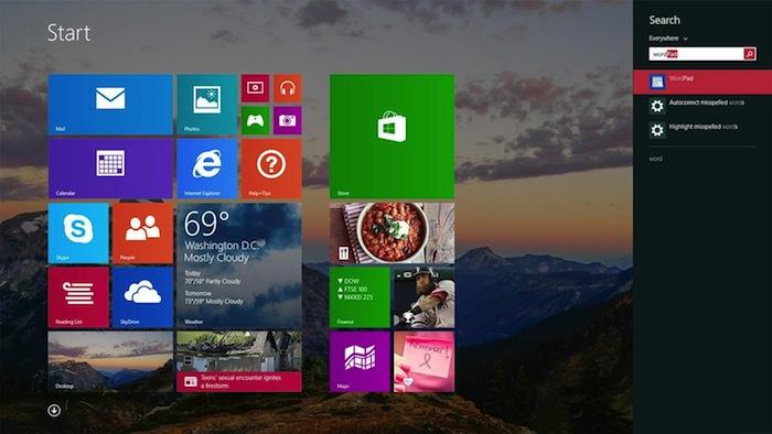 Meilleure recherche sous Windows 8.1