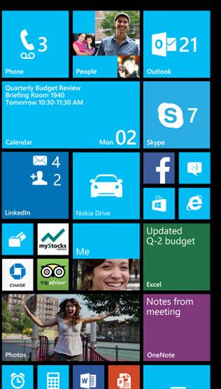 Écran d'accueil de Windows Phone 8 GRD3 comprenant jusqu'à six Live Tiles