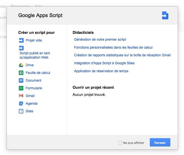 Projet sur Google Scripts